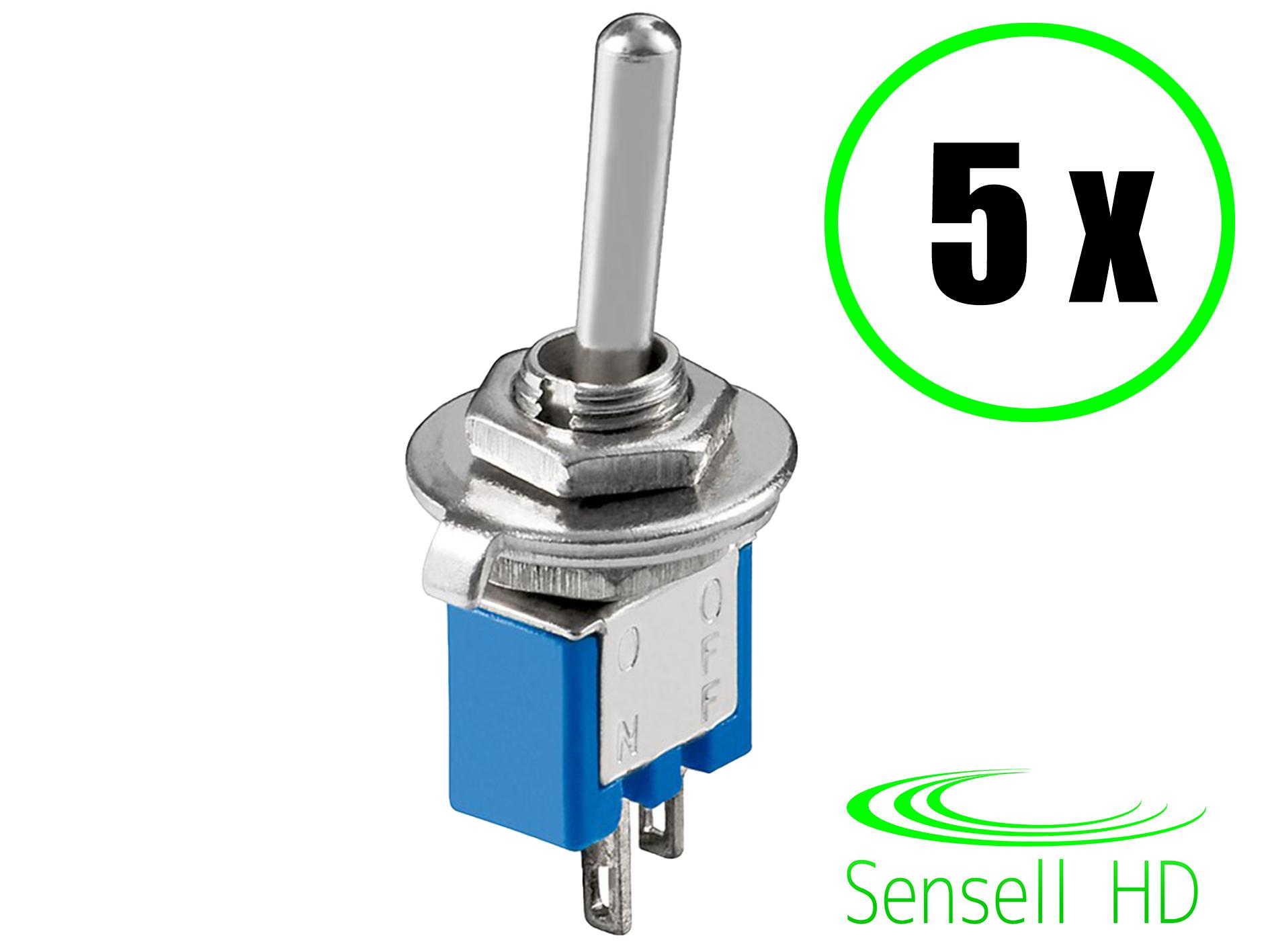 5x Kippschalter Subminiatur Hebelschalter Miniatur Schalter Ein//Aus 2 Pins